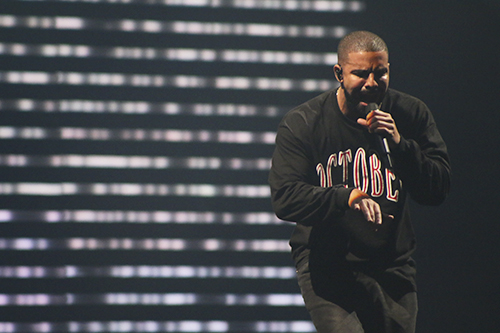 Drake pumped up the crowd at Landmark Festival on Saturday. Jordan McDonald   Hatchet Staff Photographer