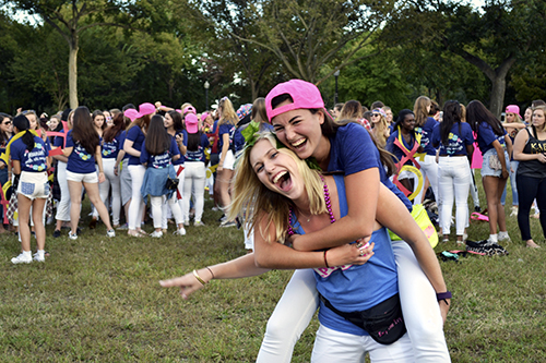 Senior Aya Kantorovich Chi Omega and Senior Brooke Kinney Alpha Phi. Camille Ramasastry | Hatchet Photographer