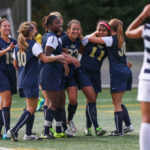 Freshman Sofia Pavon (No. 11) celebrates her game-winning penalty kick which gave the Colonials the win 2-1 against La Salle Thursday. Da