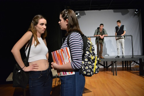 "Caroline Multerer, left, as Chastity and Hannah Friedman as Bianca Stratford have a sassy moment in the ""10 Things I Hate About You"" play. Madeleine Cook 