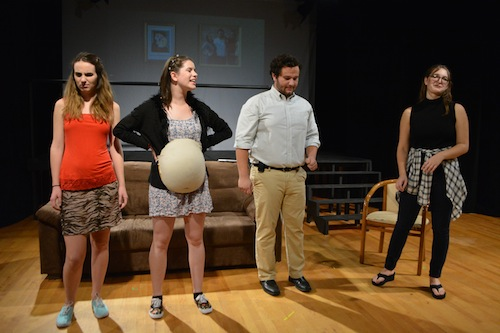 "Students Caroline Multerer, left, Hannah Friedman, second from left, Matt Medeiros, second from right, and Michelle Desien act in a comical scene in the adaptation of the well-known movie ""10 Things I Hate About You."" Madeleine Cook 
