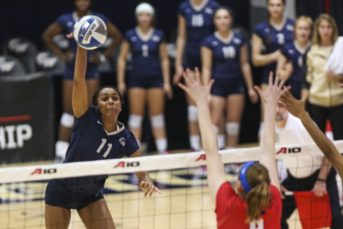 Sophomore outside hitter Aaliya Davidson attacks the ball in GW's five-set loss to top-seed Dayton in the Atlantic 10 Tournament semifinals Saturday. Dan Rich | Contributing Photo Editor