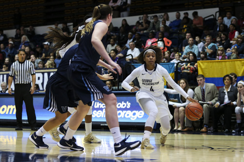 Graduate student Lauren Chase moves toward the basket in GW's win against Villanova earlier this season. The Colonials travel to Fordham Wednesday night searching for their 15th-straight win. Hatchet File Photo