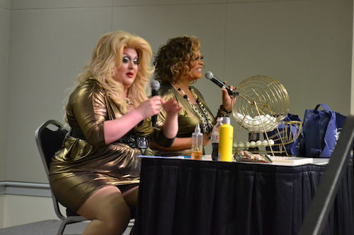 Sasha Adams and Ba'naka, local drag queens of Nellie's Sports Bar fame, hosted drag bingo on Monday night. Aly Kruse   Hatchet Staff Photographer