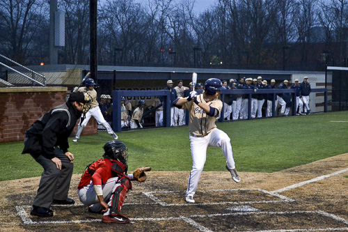 Sophomore Robbie Metz awaits a pitch in the Colonials' win over Delaware State earlier this season. Hatchet File Photo.