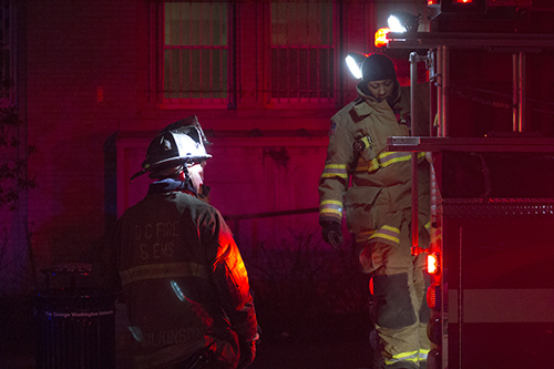 D.C. Fire and EMS responded to a trash fire in Fulbright Hall Sunday. Charlie Lee | Hatchet Staff Photographer