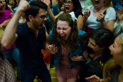 Erika Feinman celebrates with their supporters after winning the race for Student Association president. Katie Causey | Photo Editor