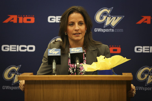 Women's basketball head coach Jennifer Rizzotti makes a statement at a press conference Friday afternoon. Rizzotti was previously the coach at the University of Hartford. Dan Rich | Contributing Photo Editor