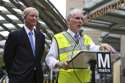 Metro General Manager, Paul Wiedefeld, right, and Metro Board of Directors Chair Jack Evans, left, held a press conference to address Metro's year-long repair plan Monday. Dan Rich | Photo Editor