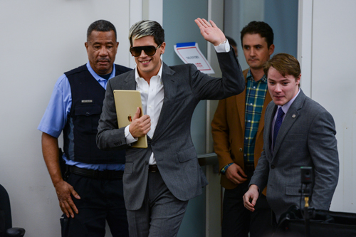 Controversial conservative journalist Milo Yiannopoulos spoke at the Elliott School on Friday. Changes to the event time left ticket-holders without access to the speech. Madeleine Cook | Hatchet Staff Photographer