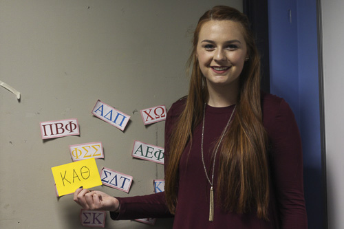 Rebecca Connolly, the president of the Panhellenic Association, said the group chose Kappa Alpha Theta as its newest sorority. Naishi Jhaveri | Hatcher Staff Photographer